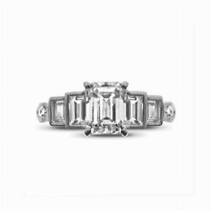 Emerald Cut Engagement Ring With Step Down Baguette Cut Shoulders 1.01 ESI2 GIA